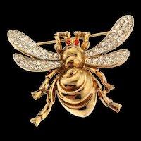Vintage 1940s Philippe TRIFARI Bumblebee Bee Bug Figural Rhinestone Pin Brooch