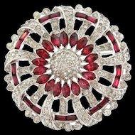 Vintage 1940s MAZER Ruby Crystal Rhinestone Flower Pinwheel Brooch Pin
