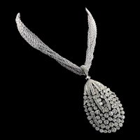 Vintage Philippe TRIFARI Concerto Rhinestone Multi-Strand Tear Drop Pendant NECKLACE