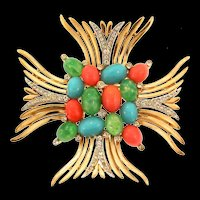 Vintage Philippe TRIFARI Jewels of India Rhinestone Maltese Cross Figural Pin Brooch
