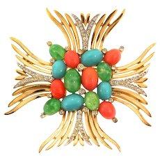 Vintage Philippe TRIFARI Jewels of India Rhinestone Maltese Cross Figural Pin Brooch