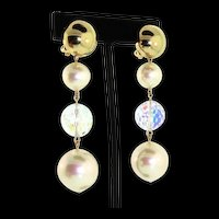 Vintage CHRISTIAN DIOR Germany X-Long Fx Pearl Swarovski Crystal Prism Bead EARRINGS