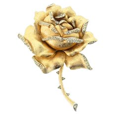 Rare Vintage Philippe TRIFARI Giant Thorny Rose Figural Rhinestone Brooch Pin