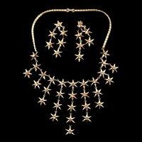 Philippe TRIFARI Spangled Star Rhinestone NECKLACE& Dangle Clip EARRINGS Set