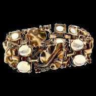 "Vintage 1945 Philippe TRIFARI Sterling Moonstone Cabochon Golden Leaves BRACELET -SMALL 6"""