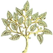 Vintage TRIFARI Tree of Life Rhinestone Goldplated Figural Brooch Pin
