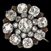 Antique Impressive VICTORIAN Vermeil Sterling Rock Crystal Brooch Pin