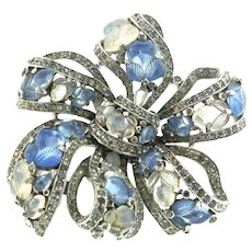 Vintage 1940s Philippe TRIFARI Fruit Salad BOW Figural Rhinestone Pin Clip Brooch