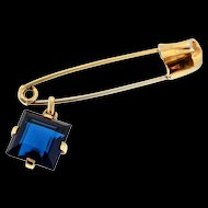 Vintage TRIFARI Square Cut Dangling Sapphire Glass Charm Pendant Safety Pin Brooch