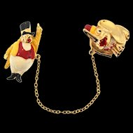 1940s CORO Walt DISNEY Productions Ringmaster DUMBO Circus Chatelaine Pin Clips