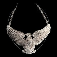 Vintage Massive ACCESSOCRAFT Silvertone Eagle Figural Statement Runway NECKLACE