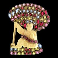 Large Rare Vintage Hobe Vermeil Chinese BANDORA Jeweled Rhinestone Brooch Pin