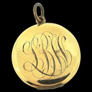 Vintage Victorian BB CO Bliss Brothers Inscribed Gold Filled Photo LOCKET Pendant