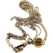 "Victorian 12K Gold 25"" Seed Pearl Persian Turquoise Slide Pocket Watch Chain"