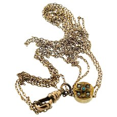 """Victorian 12K Gold 25"""" Seed Pearl Persian Turquoise Slide Pocket Watch Chain"""