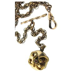 W&S Blackinton Co Victorian Gold Filled Ruby Glass Pocket Watch Chain Fob T-Bar