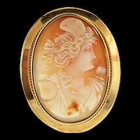 Antique 1919 Swedish MW Rothoff 18K Gold CAMEO Pendant Brooch Pin 11.5g