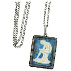 Vintage Sterling Silver Morpho BUTTERFLY WING Greco-Roman Sulfide Pendant Necklace