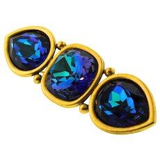 Vintage YVES SAINT LAURENT YSL Peacock Crystal Bar Pin Brooch
