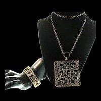 Pentti SARPANEVA Finland Mid-Century Modernist Bronze Pitsi Necklace & Bracelet