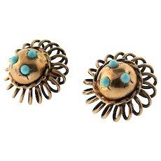 1920s Deco Vermeil Sterling Fx Turquoise Spangled Sputnik Screwback Earrings