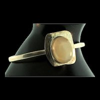 Vintage Navajo Native American Sterling Silver Moonstone Cuff BRACELET