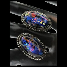 Vintage Sterling Silver Foil Glass Fiery Faux Opal Screwback Earrings