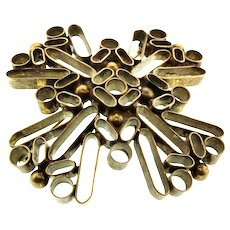 Huge 1960s JULIANA D&E Brass Cut Tubing & Ball Mod Boho Hippie BROOCH PIN