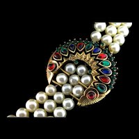 Vintage Philippe TRIFARI Jewels of India Moghul Fx Pearl Rhinestone NECKLACE
