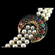 Vintage Philippe TRIFARI Jewels of India Moghul Fx Pearl Rhinestone NECKLACE
