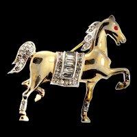 Vintage Philippe TRIFARI Rhinestone Arabian Prancing Horse Figural Brooch Pin