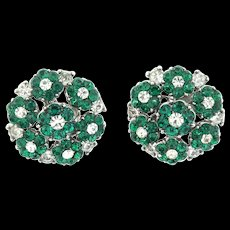 Darling Vintage Philippe TRIFARI Clustered Emerald Rhinestone Flowerette Earrings