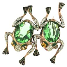 Rare 1944 Katz CORO Sterling Frog Duette Duet Figural Pin Clips Brooch