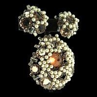 Vintage SCHREINER NY Topaz Crystal Rhinestone Fx Pearl Brooch Pin Pendant Earrings Set