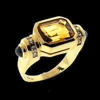 Art Deco WEISCO 14K Gold Citrine Sapphire Diamond RING Sz 7.5 Krypell Design