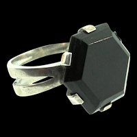 Vintage Scandinavian Sweden Mid-Century MODERNIST Sterling Hexagon Onyx RING Sz 6