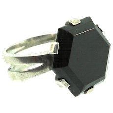 Vintage Scandinavian Sweden Mid-Century MODERNIST Sterling Hexagon Onyx RING Sz 6