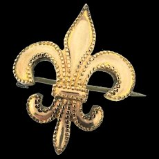 Antique Estate Victorian Gold Filled Fleur De Lis Watch Lapel Pin