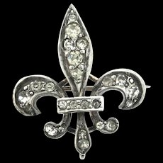 Scarce Antique Victorian Sterling Silver 935 Paste Fleur De Lis Watch Lapel Pin