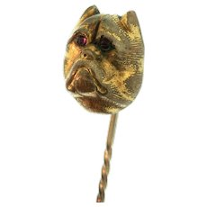 Antique Victorian Gold Filled BULLDOG Figural Ruby Paste Eye Hat Stick Pin