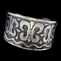 Vintage Edgy & Massive Solid Sterling Silver 925 FLEUR DE LIS Statement Cuff 82.5g