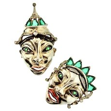 RARE 1945 REJA STERLING Balinese King Queen Masks Pins Brooches SET Book Pieces