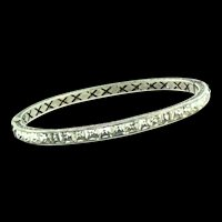 Vintage Art Deco Sterling Silver Channel Set Rhinestone Oval Bangle BRACELET