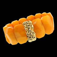 Vintage Estate Genuine Baltic Amber & 14K Yellow Gold Clasp Chunky BRACELET