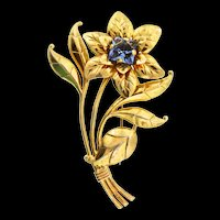 "Vintage Large 4"" Sterling Silver Vermeil Sapphire Glass FLOWER Figural Brooch Pin"