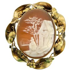 Antique Late 1800s Victorian Rebecca at Well Country Scene GF Shell CAMEO Pin Brooch