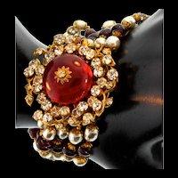 Rare Vintage MIRIAM HASKELL Fx Pearl Glass Bead Rhinestone Ornate Clasp BRACELET