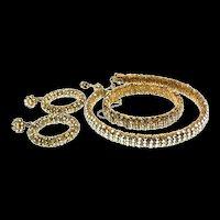 1960s MIRIAM HASKELL Glass Bead Rhinestone Choker Bracelet Earrings SET Parure