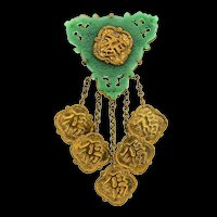 Vintage CHINESE Brass & Molded Plastic Dangle Luck Fortune Medallion Brooch Pin