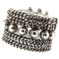 Vintage MASSIVE Hector Aguilar Style Taxco Mexican 980 Sterling Unisex BRACELET 183g
